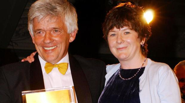 Peter Allen and Jane Garvey with their News Broadcaster Award at the Sony Radio Academy Awards 2002