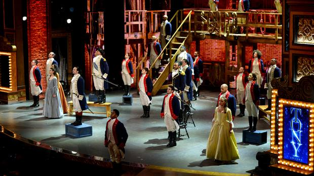 The cast of Hamilton performs at the Tony Awards - the musical won 11 gongs (AP)
