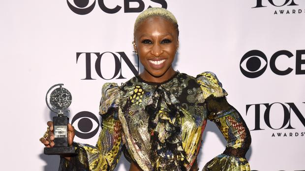 Cynthia Erivo with the award for leading actress in a musical for The Color Purple at the Tony Awards (AP)