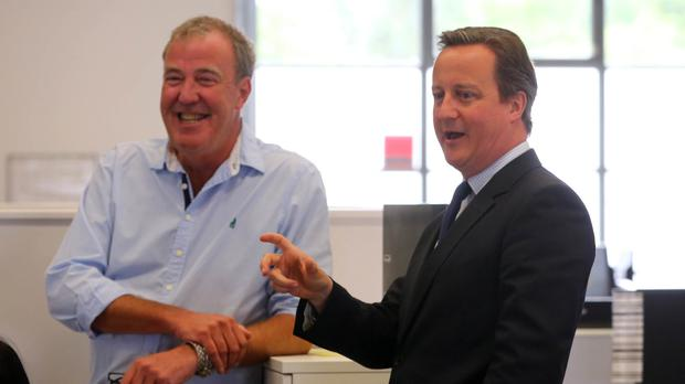 Prime Minister David Cameron met Jeremy Clarkson during an EU-related visit to television studios in Chiswick, west London