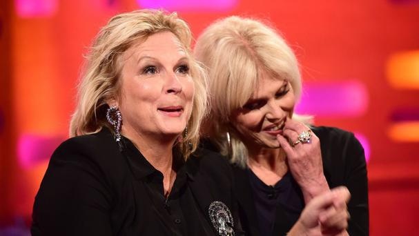 Joanna Lumley (right) said she did not immediately hit it off with Ab Fab co-star Jennifer Saunders (left)