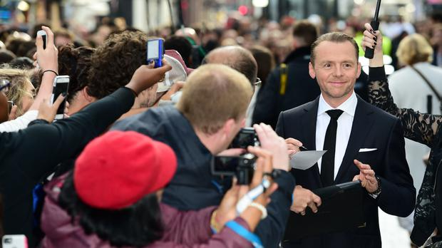 Simon Pegg meets fans during the premiere of Star Trek Beyond in Leicester Square, London