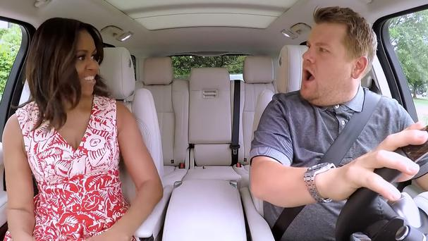 Michelle Obama joins James Corden for his popular Carpool Karaoke (YouTube/PA)