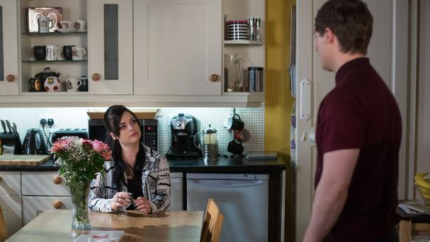 Whitney Dean (Shona McGarty) talking to cheating boyfriend Lee Carter (Danny-Boy Hatchard) in EastEnders (Jack Barnes/BBC/PA)