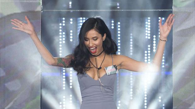 Evelyn Ellis entering the Big Brother house at the start of the series - she entered again after briefly walking out
