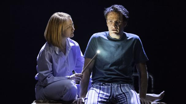 Poppy Miller as Ginny Potter and Jamie Parker as Harry Potter in the play Harry Potter And The Cursed Child (Premier/PA)
