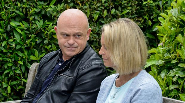 Kathy encourages Grant to open up as he returns to Albert Square grieving for his late mother (BBC/PA)
