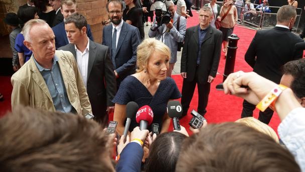 JK Rowling arrives at the opening gala performance of Harry Potter And The Cursed Child, at the Palace Theatre in London