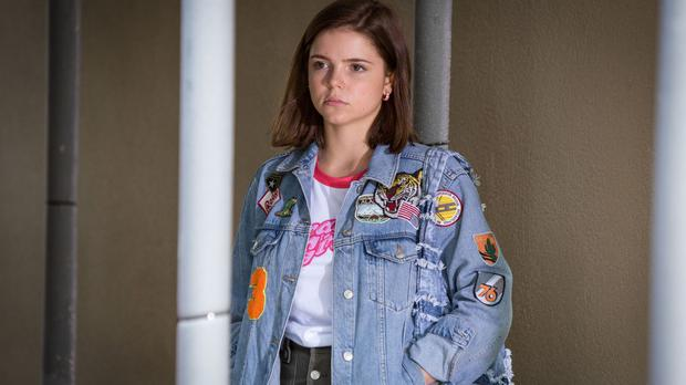 Courtney, played by Alice Nokes, waiting for TV dad Grant (BBC/PA)