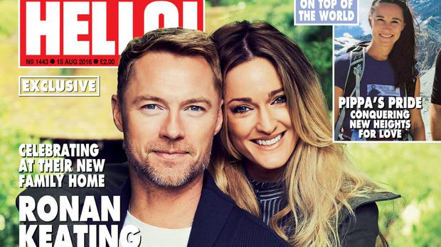 Ronan Keating and his wife on the cover of Hello! (Hello!/PA)