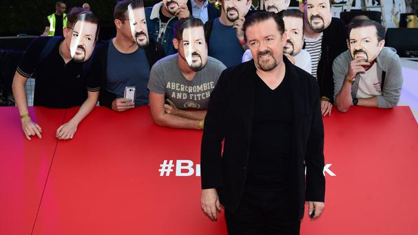 Ricky Gervais and fans attending the world premiere of David Brent: Life On The Road at Leicester Square, London