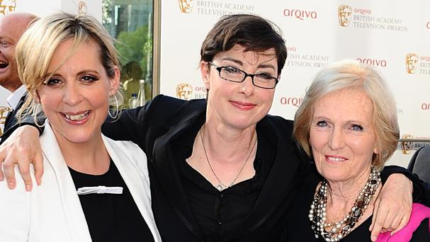 Mel Giedroyc, left, Sue Perkinsm, centre, and Mary Berry