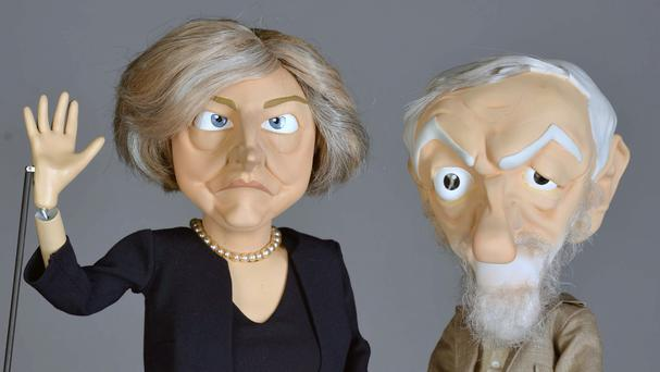Puppets of Theresa May and Jeremy Corbyn which will feature in the second series of satirical sketch show Newzoids (ITV/PA)
