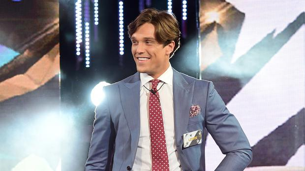 Lewis Bloor entering the Celebrity Big Brother house - he exited in a double eviction with James Whale