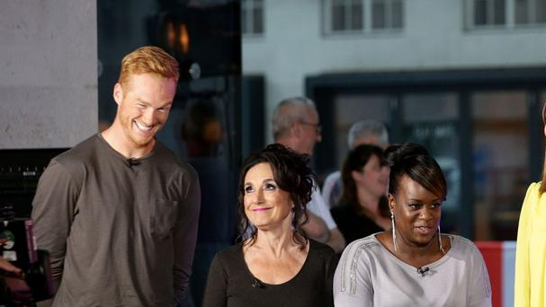 Strictly contenders Greg Rutherford, Lesley Joseph and Tameka Empson outside BBC Broadcasting House
