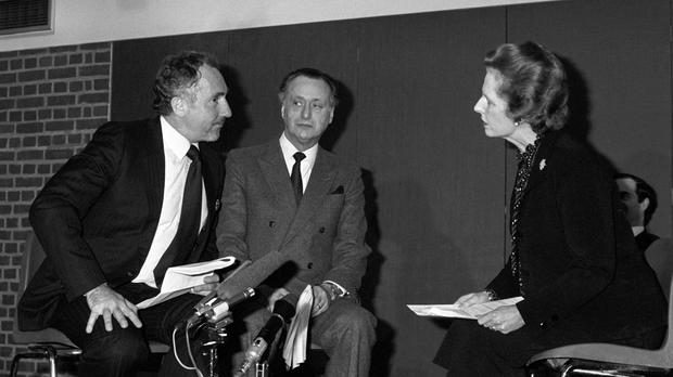 Then real-life prime minister Margaret Thatcher makes a guest appearance with Nigel Hawthorne (as Humphrey Appleby) and Paul Eddington (as fictional PM Jim Hacker) in a one-off Yes, Prime Minister sketch