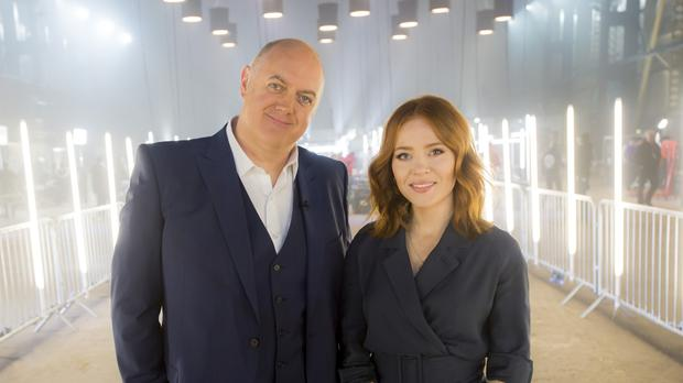 Dara O Briain and Angela Scanlon on the set of Robot Wars