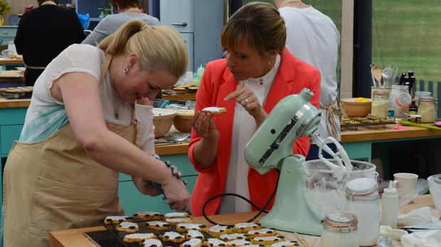 Louise Williams, left, with host Mel Giedroyc, said she 'didn't get my chance to shine' on Bake Off (BBC/PA Wire)