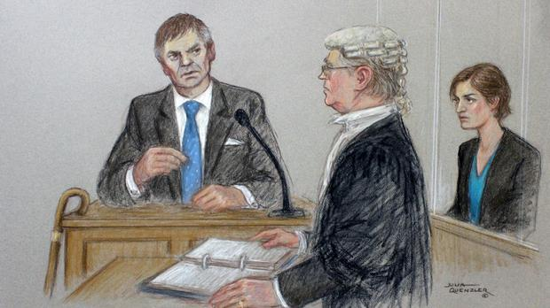 A court artist drawing illustrating defendant Helen Titchener (played by Louiza Patikas), listening to evidence from her husband Rob (Timothy Watson) (Julia Quenzler/BBC/PA)