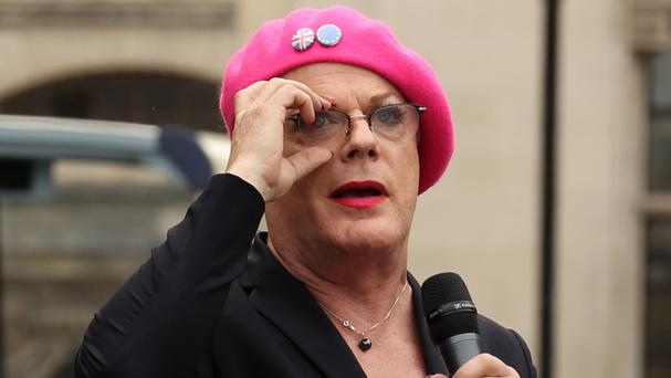 Eddie Izzard makes a speech as protesters take part in a March for Europe rally