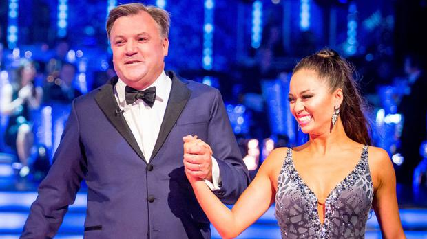 Ed Balls - here with partner Katya Jones - tried out his moves on the Daily Politics.