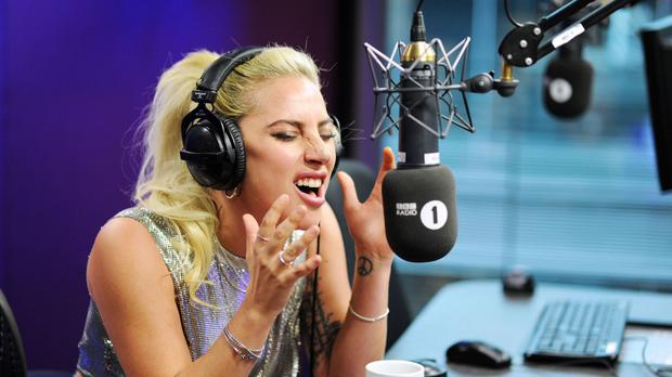 Lady Gaga co-hosted the Radio 1 Breakfast Show with Nick Grimshaw (BBC/PA)