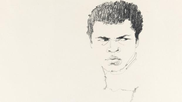 One of the three illustrations of Muhammad Ali commissioned for a magazine cover which are set to go under the hammer in New York (Bernie Fuchs/Swann Auction Galleries/PA)