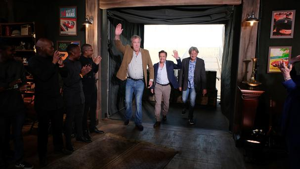 Jeremy Clarkson, Richard Hammond and James May in Johannesburg during the first studio tent recording of The Grand Tour (Amazon Prime TV/PA)