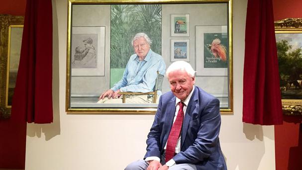 Sir David Attenborough sits in front of a portrait of himself by Bryan Organ, to commemorate his 90th birthday, at the New Walk Museum in Leicester.