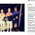 Kate Hudson appeared on Instagram being held aloft by Tony Blair and Sly Stallone