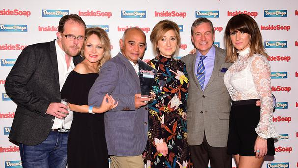 Emmerdale's Liam Fox, Michelle Hardwick, Bhasker Patel, Charlotte Bellamy, John Middleton and Laura Norton at the Inside Soap Awards