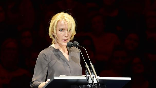 Gillian Anderson reads a letter during the third night of the Letters Live series at the Freemason's Hall, London