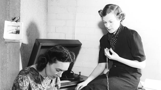 BBC photo of Barbara McFadyean recording Joan Griffiths (right), the first female Woman's Hour presenter