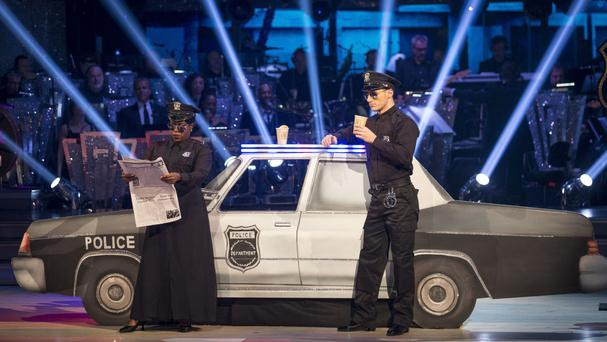 Tameka Empson and Gorka Marquez danced a tango to The Heat Is On from Beverly Hills Cop