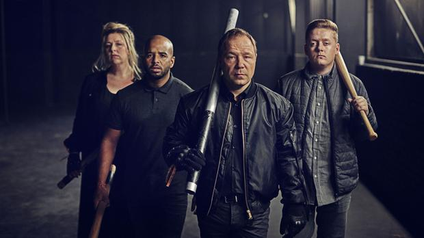 Hannah Walters, Andrew Shim,Stephen Graham and Thomas Turgoose in the film for Stand Up To Cancer