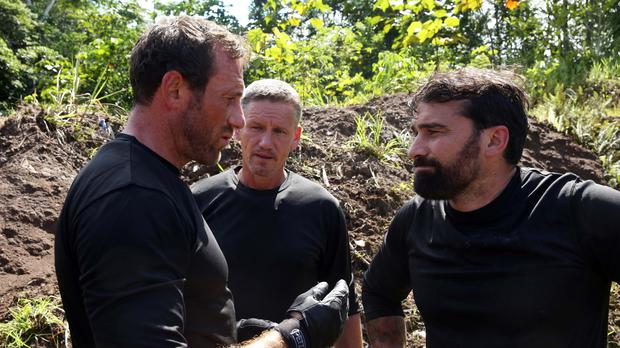 Jason Fox (left) and Anthony Middleton (right) appear with former celebrity bodyguard Mark Billingham in SAS: Who Dares Wins