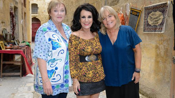 Pauline Quirke, Lesley Joseph and Linda Robson during filming the Birds of a Feather Christmas special on location in Malta (ITV)