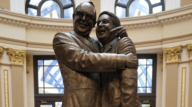 A statue of Morecambe and Wise at Blackpool's Winter Gardens (Dave Nelson/Rhodes Media/PA)