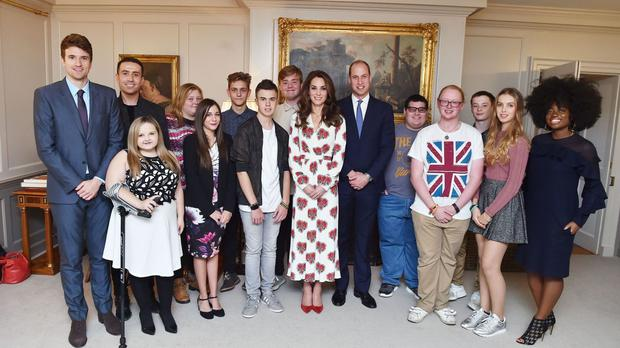 Radio 1 DJs Greg James (left) Nick Grimshaw (second left), Clara Amfo (right) and the Duke and Duchess of Cambridge (centre) with inspirational young people at Kensington Palace, London, during a special reception ahead of BBC Radio 1's Teen Awards (BBC)