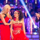 Presenter Tess Daly with Lesley Joseph and Anton Du Beke who were voted off BBC One's Strictly Come Dancing (BBC)