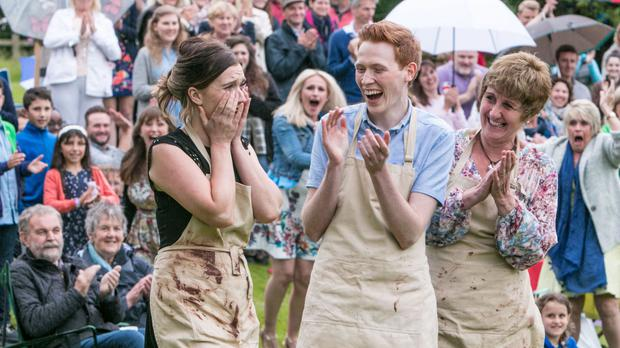 Jane Beedle (right), Andrew Smyth and Candice Brown, who was crowned champion of this year's Great British Bake Off.