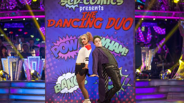 Louise Redknapp and Kevin Clifton in their Harley Quinn and Joker costumes