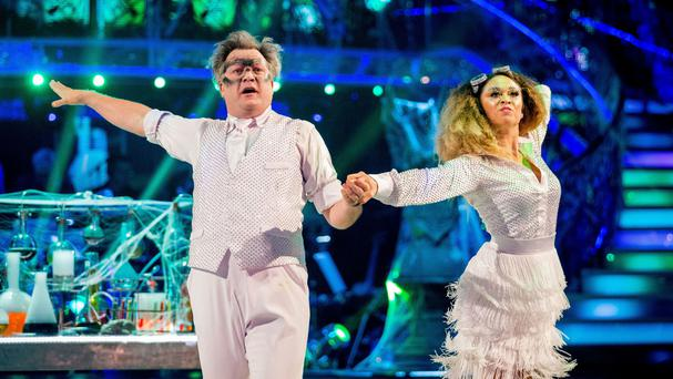 Ed Balls and Katya Jones perform during Saturday's live edition of Strictly Come Dancing (BBC/PA)