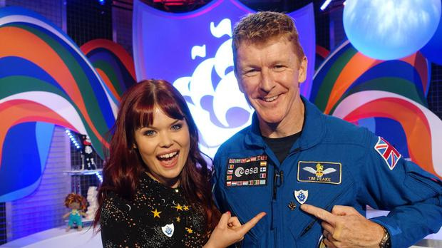Tim Peake received a Blue Peter badge for