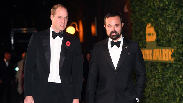 The Duke of Cambridge and Evgeny Lebedev at the the London Evening Standard Theatre Awards held at the Old Vic Theatre