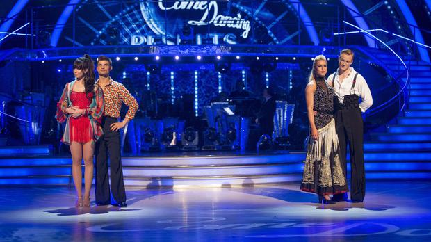 Daisy Lowe and Aljaz Skorjanec (right) were in the dance off with Natalie Lowe and Greg Rutherford (BBC/PA)