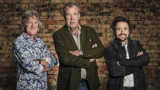 James May, Jeremy Clarkson and Richard Hammond during filming of The Grand Tour (PA/Amazon)