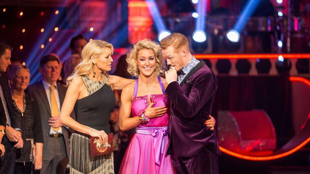 Tess Daly, Natalie Lowe and Greg Rutherford during the results show for BBC One's Strictly Come Dancing (BBC/PA)