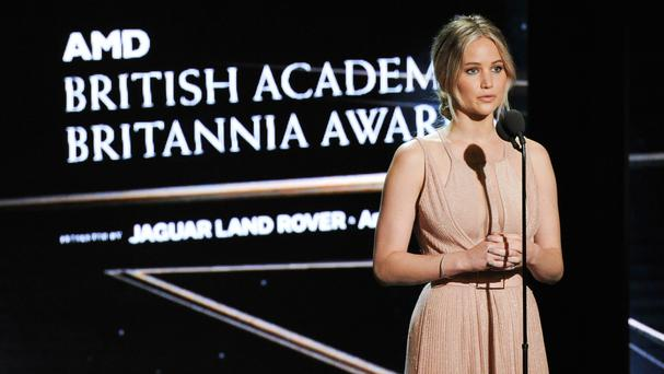 Jennifer Lawrence at the 2016 Bafta Los Angeles Britannia Awards - the star says she is scared when fans invade her personal space (AP)