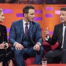 Jennifer Lawrence, Chris Pratt (centre) and Jamie Oliver, during the filming of the Graham Norton Show at The London Studios, south London